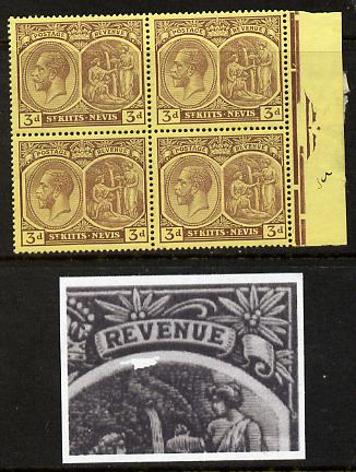 St Kitts-Nevis 1921-29 KG5 Script CA Medicinal Spring 3d purple on yellow marginal block of 4 one stamp with Damaged Right Vignette at top (R7-5), unmounted mint SG 45a