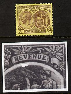 St Kitts-Nevis 1921-29 KG5 Script CA Medicinal Spring 3d purple on yellow single with Damaged Right Vignette at top (R7-5), mounted mint SG 45a