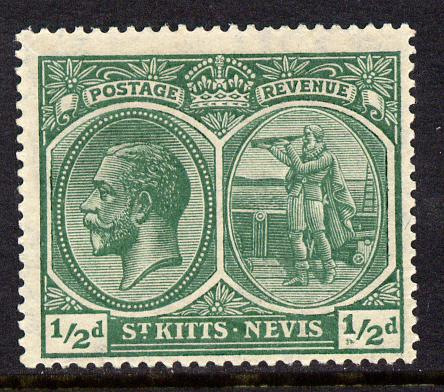 St Kitts-Nevis 1920-22 KG5 MCA Columbus 1/2d blue-green single with 2 small flaws below