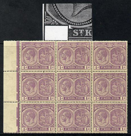 St Kitts-Nevis 1921-29 KG5 Script CA Medicinal Spring 1d violet marginal block of 9 one stamp with Nick in Country tablet at left (R1-1), unmounted mint few split perfs SG 39