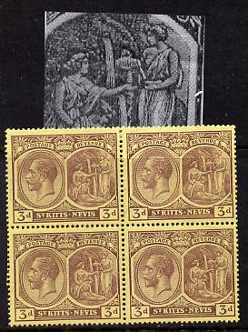 St Kitts-Nevis 1921-29 KG5 Script CA Medicinal Spring 3d purple on yellow marginal block of 4 one stamp with Frame split at right (R8-1), unmounted mint SG 45a