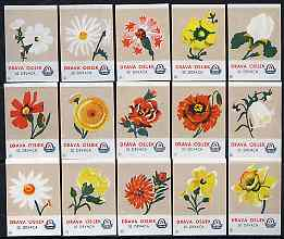 Match Box Labels - complete set of 15 Flowers (fawn background), superb unused condition (Yugoslavian Drava Series)