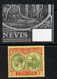 St Kitts-Nevis 1920-22 KG5 MCA Columbus 5s green & red on yellow single with ragged frame line at right mounted mint SG 34