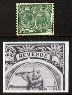 St Kitts-Nevis 1920-22 KG5 MCA Columbus 1/2d blue-green single with chipped frame below