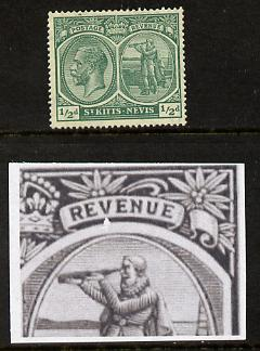 St Kitts-Nevis 1921-29 KG5 Script CA Columbus 1/2d blue-green single with chipped frame below 'V' (position unknown) mounted mint SG 37