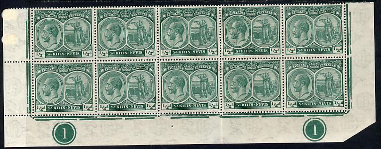 St Kitts-Nevis 1921-29 KG5 Script CA Columbus 1/2d blue-green marginal block of 10 (folded) being the lower two rows with Plate No.1 (x2) unmounted mint SG 37