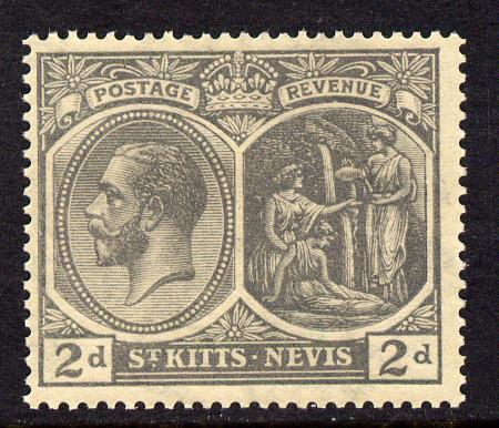 St Kitts-Nevis 1921-29 KG5 Script CA Medicinal Spring 2d slate-grey mounted mint SG41