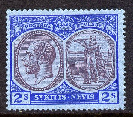 St Kitts-Nevis 1921-29 KG5 Script CA Columbus 2s purple & blue on blue mounted mint SG 47