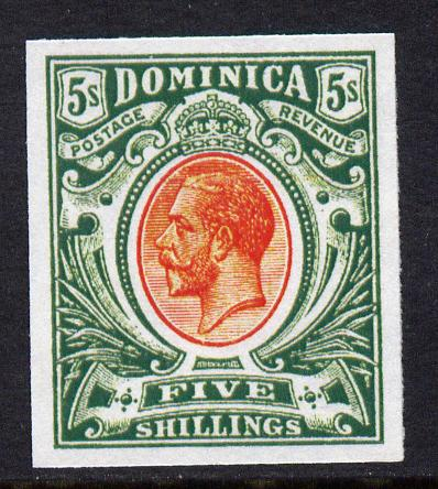 Dominica 1908-20 KG5 5s red & green imperf being a 'Hialeah' forgery on gummed paper (as SG 54)