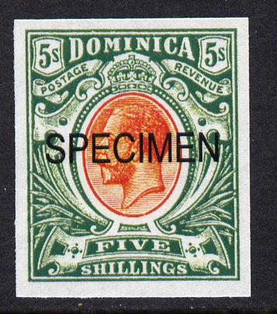 Dominica 1908-20 KG5 5s red & green overprinted SPECIMEN imperf being a