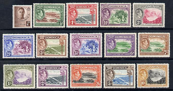 Dominica 1938-47 KG6 definitive set 15 values complete mounted mint SG99-109