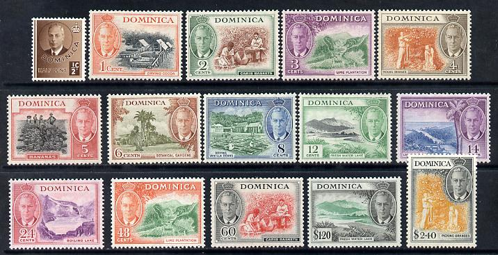 Dominica 1951 KG6 full face definitive set 15 values complete mounted mint SG 120-34