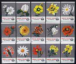 Match Box Labels - complete set of 15 Flowers (grey background), superb unused condition (Yugoslavian Drava Series)
