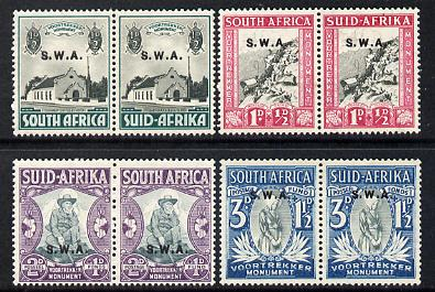 South West Africa 1935 Voortrekker Memorial Fund set of 8 (4 horizontal bi-lingual pairs) mounted mint SG 92-95