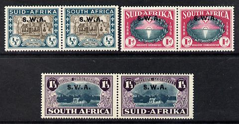 South West Africa 1939 250th Anniversary of Huguenots set of 6 (3 horiz bi-lingual pairs) mounted mint SG111-3