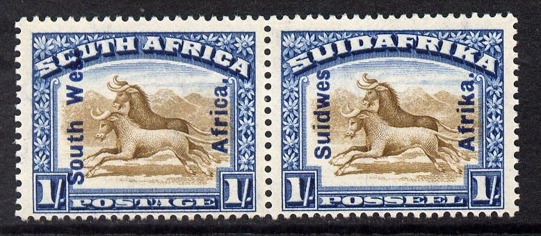 South West Africa 1927 Wildebeest 1s horiz bi-lingual pair mounted mint SG 51
