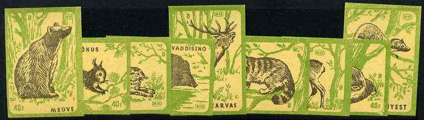 Match Box Labels - complete set of 9 Animals (black & emerald on yellow), superb unused condition (Hungarian)