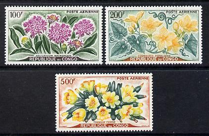 Congo 1961 Flowers set of 3 high values unmounted mint SG 9-11
