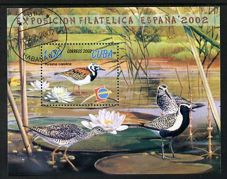 Cuba 2002 Espana Stamp Exhibition - Birds perf m/sheet fine cto used SG MS4590