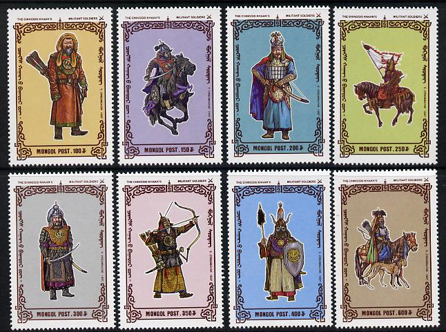 Mongolia 1997 Soldiers of Chingis Khan perf set of 8 unmounted mint, SG 2610-17