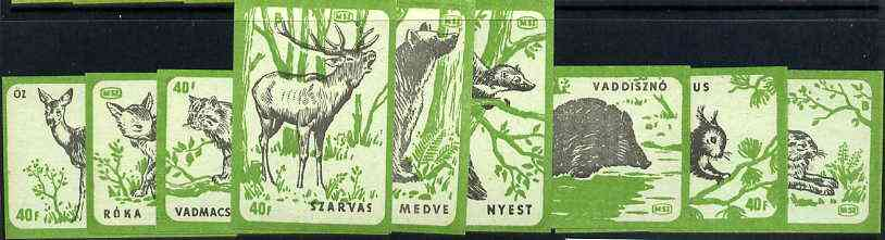 Match Box Labels - complete set of 9 Animals (black & green on blue), superb unused condition (Hungarian)