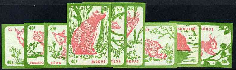 Match Box Labels - complete set of 9 Animals (red & green on blue), superb unused condition (Hungarian)