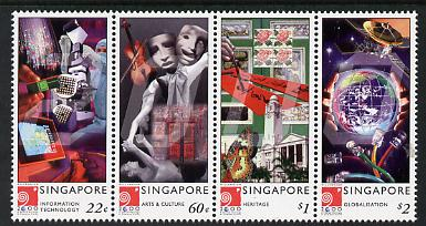 Singapore 2000 New Millennium - 2nd issue perf strip of 4 unmounted mint SG 1027-30