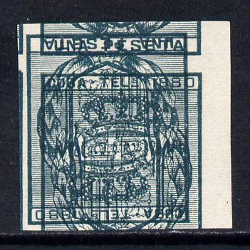 Cuba 1880 imperf proof of Telegraph 1 peseta in green with design doubled, one inverted, without gum