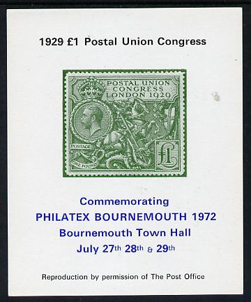 Exhibition souvenir sheet for 1972 Bournemouth Philatex Stamp showing Great Britain PUC \A31 value in green with green border unmounted mint