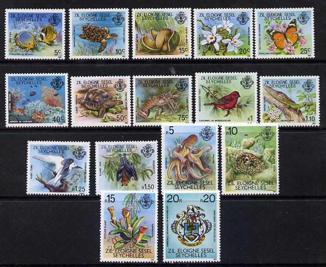 Zil Elwannyen Sesel 1980-81 Flora & Fauna definitive set complete - 16 values unmounted mint SG 1-16