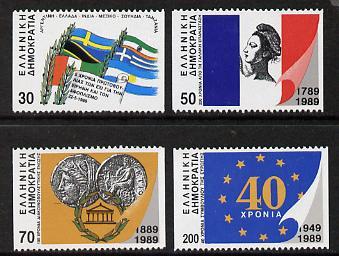 Greece 1989 International Anniversaries P14 x imperf set of 4 (ex 60d) unmounted mint SG 1820B-24B