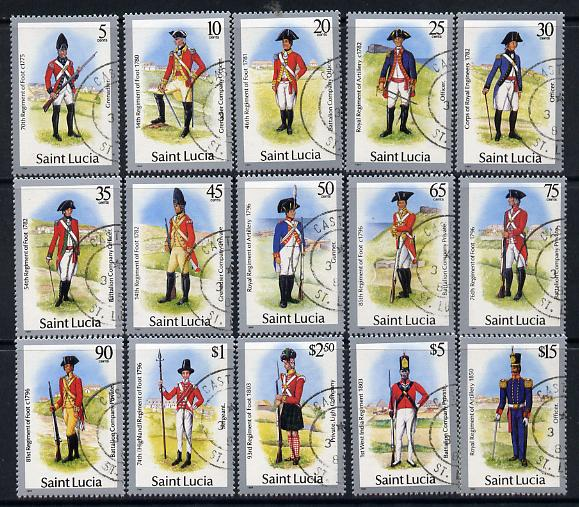 St Lucia 1985 Military Uniforms definitive set complete - 15 values fine cds used SG797-811