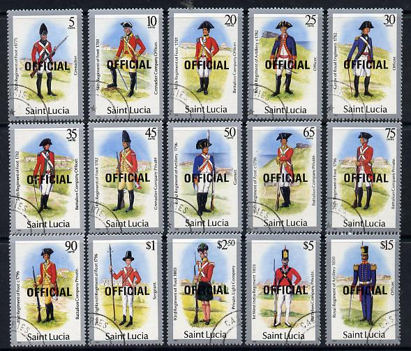 St Lucia 1985 Official overprint on Military Uniforms definitive set complete - 15 values fine cds used SG O13-27