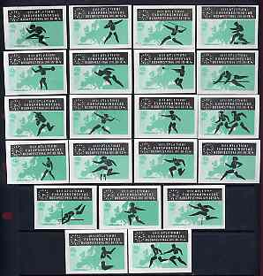 Match Box Labels - complete set of 21 Athletics (black & green) superb unused condition (Hungarian from 1966)
