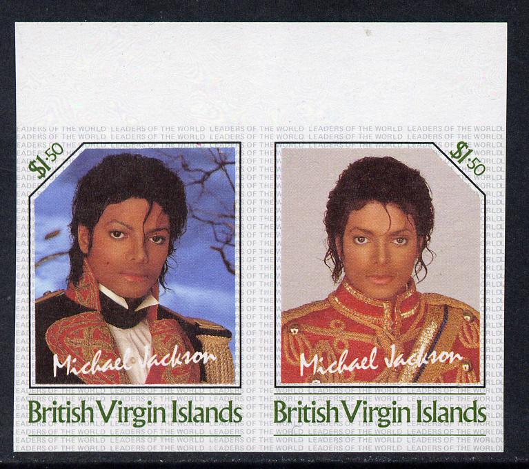 British Virgin Islands 1985 Michael Jackson $1.50 Unissued imperf unmounted mint se-tenant pair - this issue was rejected by the Queen as only living Royalty may be depic...