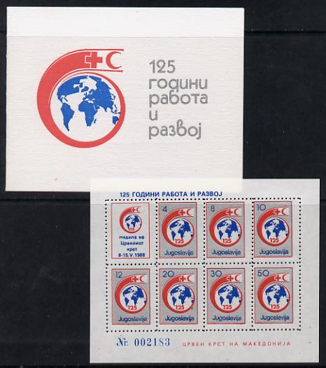 Yugoslavia 1988 Obligatory Tax Red Cross folder with sheetlet containing set of 7 values plus label unmounted mint as SG 2447-53