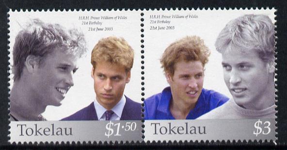 Tokelau 2003 Prince William's 21st Birthday se-tenant pair unmounted mint SG 351-2