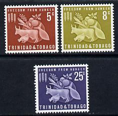 Trinidad & Tobago 1963 Freedom From Hunger perf set of 3 unmounted mint SG 305-7