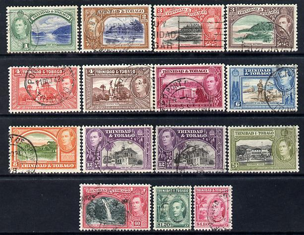 Trinidad & Tobago 1938-44 KG6 definitive set complete - 14 values plus 12c shade good to fine used SG 246-56