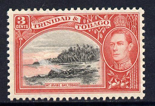 Trinidad & Tobago 1938-44 KG6 3c black & scarlet unmounted mint SG 248