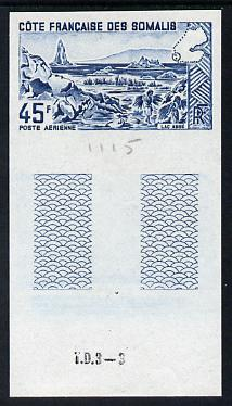 French Somali Coast 1965 Lake Abbe 45f imperf colour trial proof in blue unmounted mint as SG 486