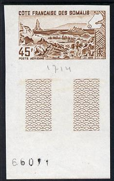 French Somali Coast 1965 Lake Abbe 45f imperf colour trial proof in brown unmounted mint as SG 486