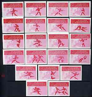 Match Box Labels - complete set of 21 Athletics (red & pink) superb unused condition (Hungarian from 1966)