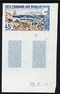French Somali Coast 1965 Lake Abbe 45f imperf colour trial proof in blue & brown unmounted mint as SG 486
