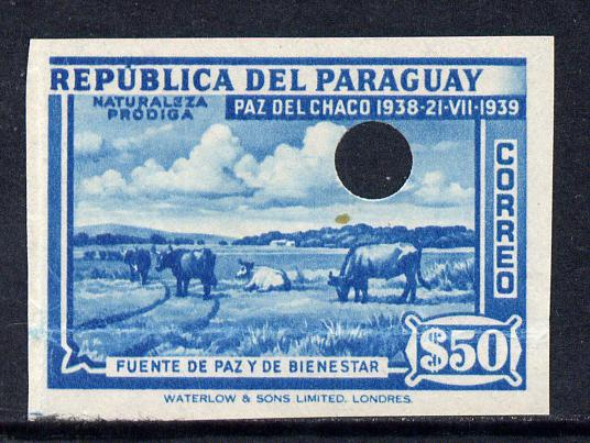 Paraguay 1940 Chaco Boundary Peace Conference 50p turquoise with security punch holes on gummed paper as SG 542 (ex Waterlow archives)