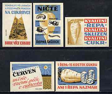 Match Box Labels - complete set of 5 Sugar beet, superb unused condition (Czechoslovakian)