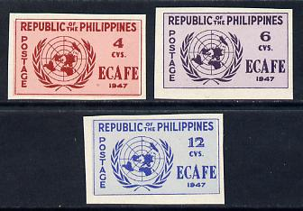 Philippines 1947 Conference of Economic Commission in Asia imperf set of 3 mounted mint, SG 648-50