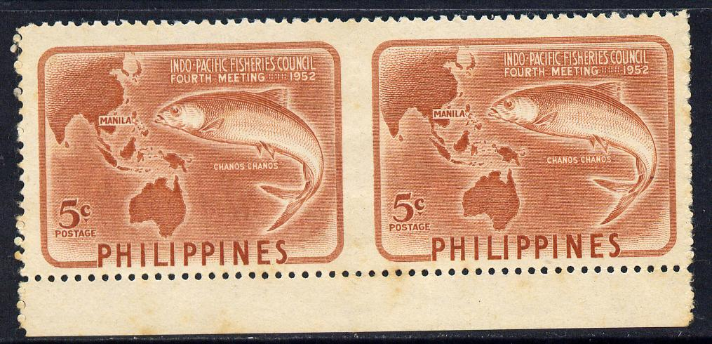Philippines 1952 Indo-Pacific Fisheries 5c brown horizontal pair imperf between unmounted mint, listed as SG 744a but unpriced