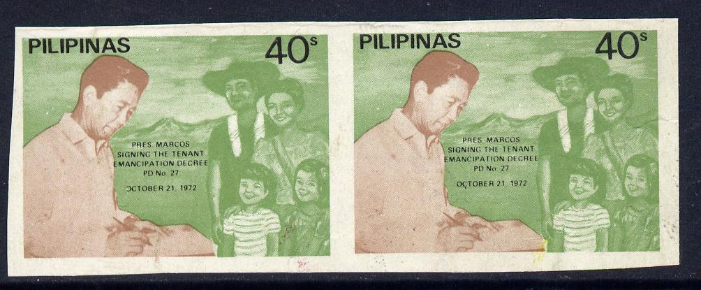 Philippines 1972 Pres Marcos Signing Decree 40s imperf proof pair unmounted mint, unlisted by SG