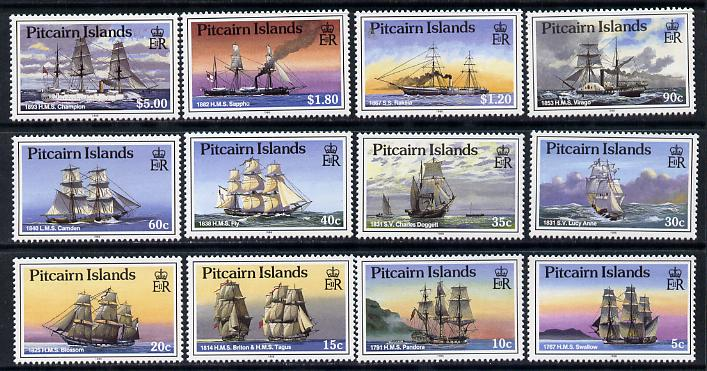 Pitcairn Islands 1988 Ships definitive set complete - 12 values unmounted mint SG 315-26